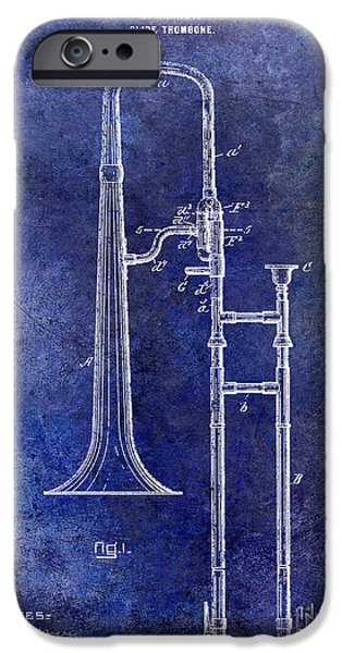 Marching Band Photographs iPhone Cases - 1902 Trombone Patent Blue iPhone Case by Jon Neidert