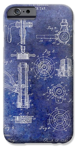 Stein iPhone Cases - 1903 Beer Tap Patent Blue iPhone Case by Jon Neidert