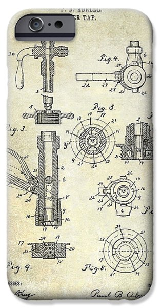 Stein iPhone Cases - 1903 Beer Tap Patent iPhone Case by Jon Neidert