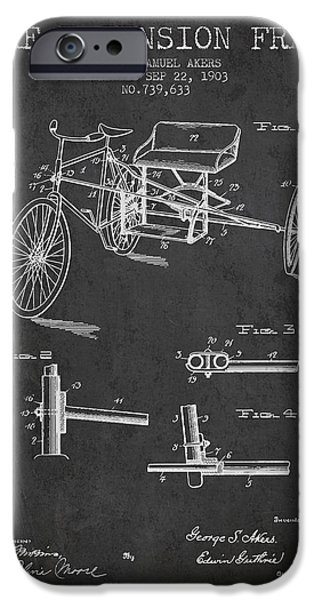 Biking Drawings iPhone Cases - 1903 Bike Extension Frame Patent - Charcoal iPhone Case by Aged Pixel