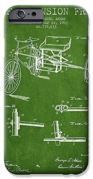 Biking Drawings iPhone Cases - 1903 Bike Extension Frame Patent - green iPhone Case by Aged Pixel