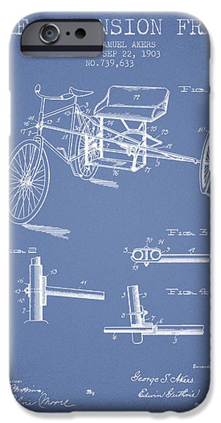 Biking Drawings iPhone Cases - 1903 Bike Extension Frame Patent - light blue iPhone Case by Aged Pixel