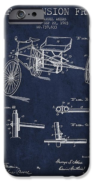 Biking Drawings iPhone Cases - 1903 Bike Extension Frame Patent - navy blue iPhone Case by Aged Pixel