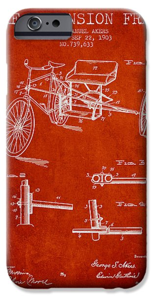 Biking Drawings iPhone Cases - 1903 Bike Extension Frame Patent - red iPhone Case by Aged Pixel