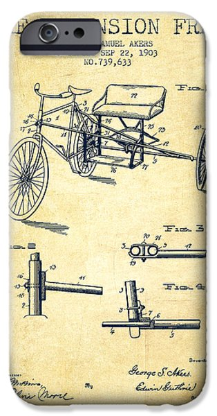 Biking Drawings iPhone Cases - 1903 Bike Extension Frame Patent - vintage iPhone Case by Aged Pixel