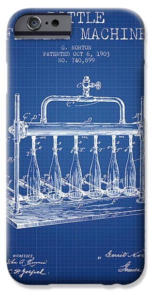 Wine Bottle iPhone Cases - 1903 Bottle Filling Machine patent - blueprint iPhone Case by Aged Pixel