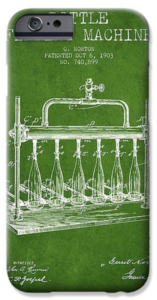 Wine Bottle iPhone Cases - 1903 Bottle Filling Machine patent - green iPhone Case by Aged Pixel