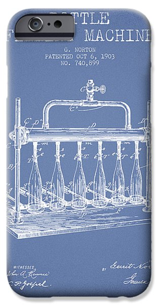 Wine Bottle iPhone Cases - 1903 Bottle Filling Machine patent - light blue iPhone Case by Aged Pixel