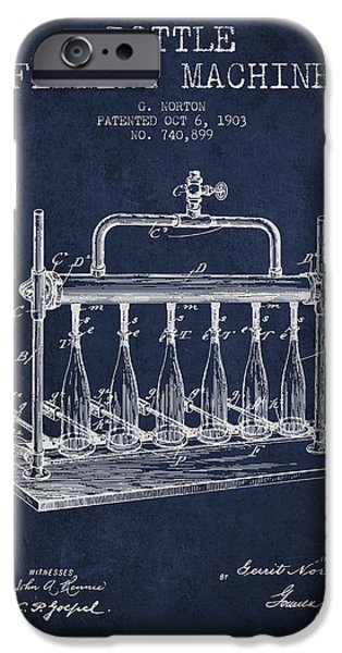 Wine Bottle iPhone Cases - 1903 Bottle Filling Machine patent - navy blue iPhone Case by Aged Pixel