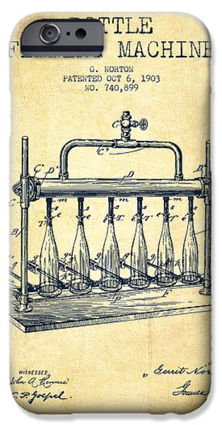 Wine Bottle iPhone Cases - 1903 Bottle Filling Machine patent - vintage iPhone Case by Aged Pixel
