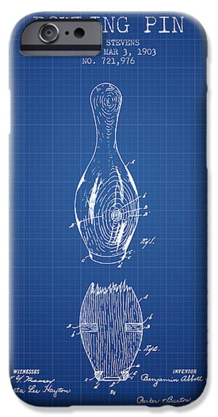 Alley Drawings iPhone Cases - 1903 Bowling Pin Patent - Blueprint iPhone Case by Aged Pixel
