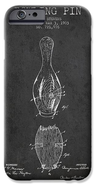 Alley Drawings iPhone Cases - 1903 Bowling Pin Patent - Charcoal iPhone Case by Aged Pixel
