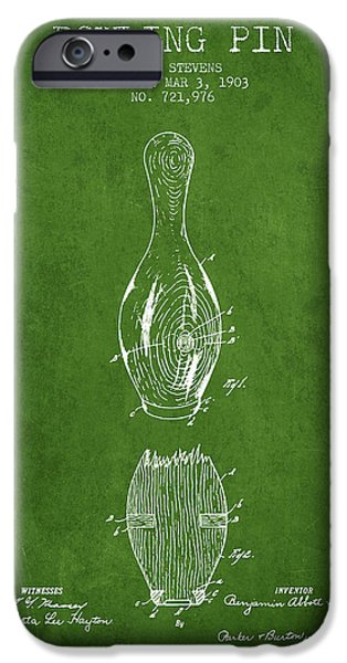Alley Drawings iPhone Cases - 1903 Bowling Pin Patent - Green iPhone Case by Aged Pixel