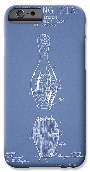 Alley Drawings iPhone Cases - 1903 Bowling Pin Patent - Light Blue iPhone Case by Aged Pixel