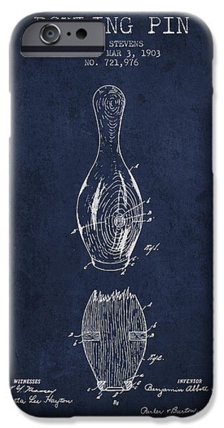 Alley Drawings iPhone Cases - 1903 Bowling Pin Patent - Navy Blue iPhone Case by Aged Pixel