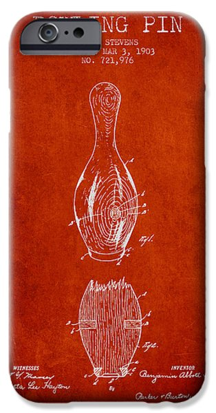 Alley Drawings iPhone Cases - 1903 Bowling Pin Patent - Red iPhone Case by Aged Pixel