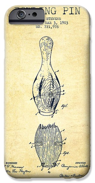 Carpet Drawings iPhone Cases - 1903 Bowling Pin Patent - Vintage iPhone Case by Aged Pixel