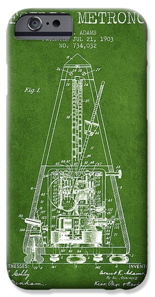 Celebrities Drawings iPhone Cases - 1903 Electric Metronome Patent - Green iPhone Case by Aged Pixel