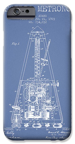 Celebrities Drawings iPhone Cases - 1903 Electric Metronome Patent - Light Blue iPhone Case by Aged Pixel