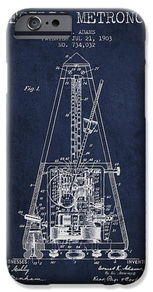Decor Drawings iPhone Cases - 1903 Electric Metronome Patent - Navy Blue iPhone Case by Aged Pixel