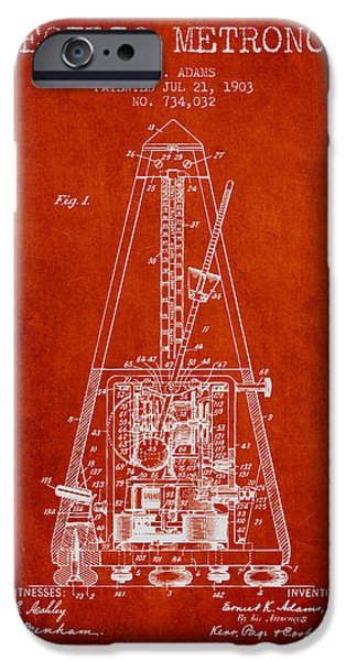 Celebrities Drawings iPhone Cases - 1903 Electric Metronome Patent - Red iPhone Case by Aged Pixel