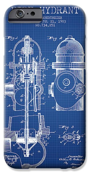 Fire Hydrant iPhone Cases - 1903 Fire Hydrant Patent - Blueprint iPhone Case by Aged Pixel