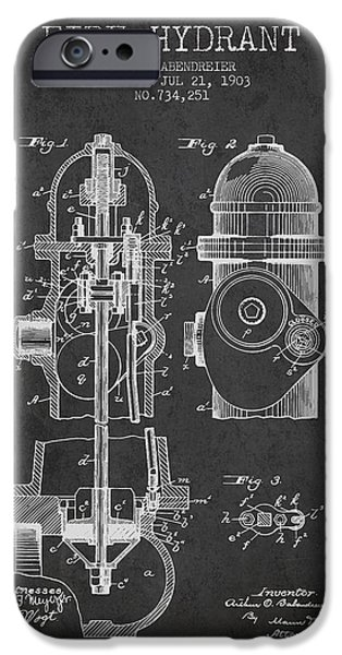 Fire Hydrant iPhone Cases - 1903 Fire Hydrant Patent - charcoal iPhone Case by Aged Pixel