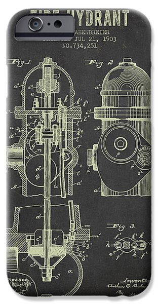 Fire Hydrant iPhone Cases - 1903 Fire Hydrant Patent - Dark Grunge iPhone Case by Aged Pixel
