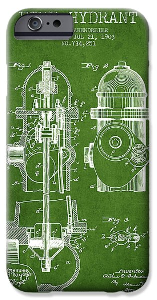 Fire Hydrant iPhone Cases - 1903 Fire Hydrant Patent - green iPhone Case by Aged Pixel