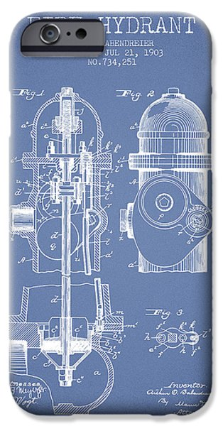 Fire Hydrant iPhone Cases - 1903 Fire Hydrant Patent - light blue iPhone Case by Aged Pixel