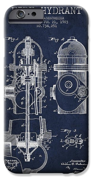 Fire Hydrant iPhone Cases - 1903 Fire Hydrant Patent - navy blue iPhone Case by Aged Pixel