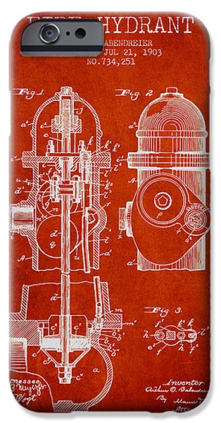Fire Hydrant iPhone Cases - 1903 Fire Hydrant Patent - red iPhone Case by Aged Pixel