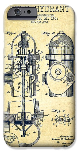 Fire Hydrant iPhone Cases - 1903 Fire Hydrant Patent - vintage iPhone Case by Aged Pixel