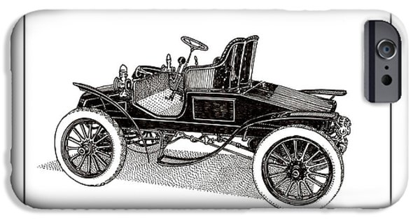 Pen And Ink Framed Prints iPhone Cases - 1903 Packard iPhone Case by Jack Pumphrey