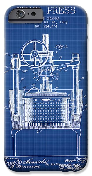 Red Wine iPhone Cases - 1903 Wine Press Patent - blueprint iPhone Case by Aged Pixel