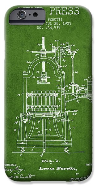 Red Wine iPhone Cases - 1903 Wine Press Patent - green 02 iPhone Case by Aged Pixel
