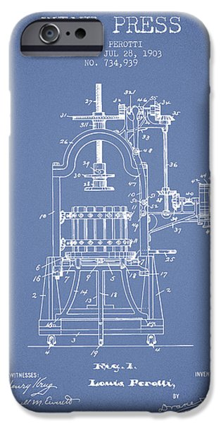 Wine Bottles iPhone Cases - 1903 Wine Press Patent - light blue 02 iPhone Case by Aged Pixel
