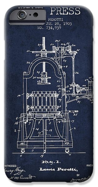 Red Wine iPhone Cases - 1903 Wine Press Patent - navy blue 02 iPhone Case by Aged Pixel