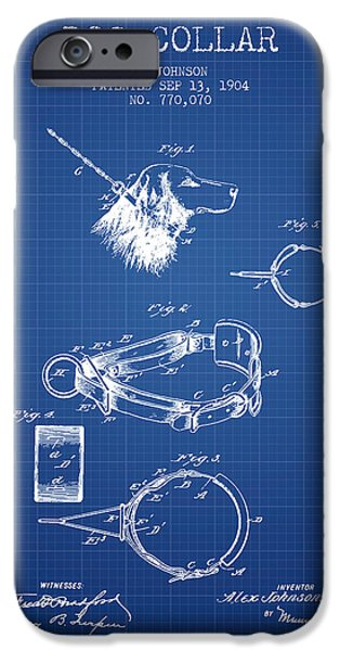 Dog iPhone Cases - 1904 Dog Collar Patent - Blueprint iPhone Case by Aged Pixel