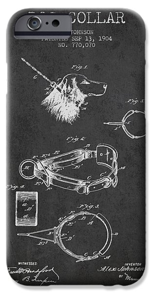 Dog iPhone Cases - 1904 Dog Collar Patent - Charcoal iPhone Case by Aged Pixel