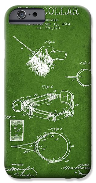Dog iPhone Cases - 1904 Dog Collar Patent - Green iPhone Case by Aged Pixel