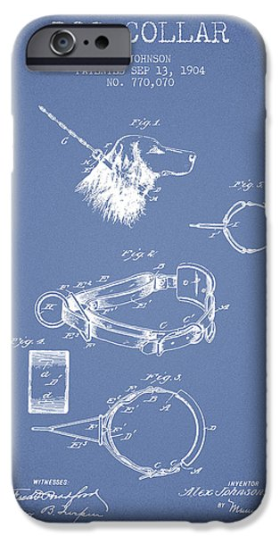 Dog iPhone Cases - 1904 Dog Collar Patent - Light Blue iPhone Case by Aged Pixel