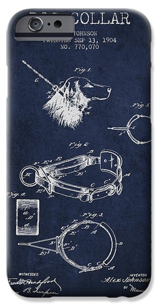 Dog iPhone Cases - 1904 Dog Collar Patent - Navy Blue iPhone Case by Aged Pixel