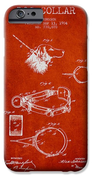 Dog iPhone Cases - 1904 Dog Collar Patent - Red iPhone Case by Aged Pixel