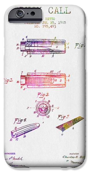 Season Drawings iPhone Cases - 1905 Duck Call Instrument Patent - Color iPhone Case by Aged Pixel