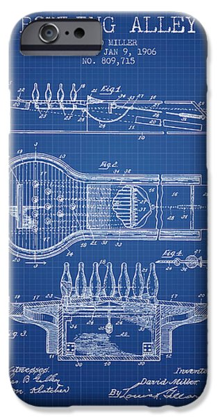 Carpet Drawings iPhone Cases - 1906 Bowling Alley Patent - Blueprint iPhone Case by Aged Pixel