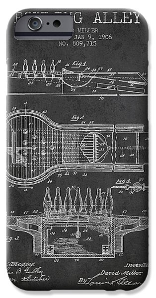 Carpet Drawings iPhone Cases - 1906 Bowling Alley Patent - charcoal iPhone Case by Aged Pixel