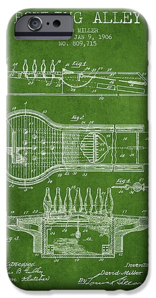 Carpet Drawings iPhone Cases - 1906 Bowling Alley Patent - Green iPhone Case by Aged Pixel