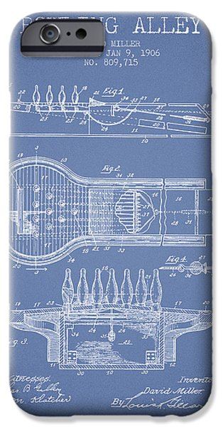 Carpet Drawings iPhone Cases - 1906 Bowling Alley Patent - Light Blue iPhone Case by Aged Pixel