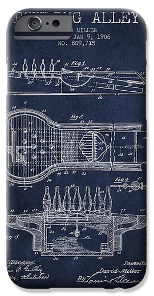 Carpet Drawings iPhone Cases - 1906 Bowling Alley Patent - Navy Blue iPhone Case by Aged Pixel